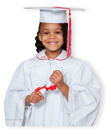 girl in toga holding diploma