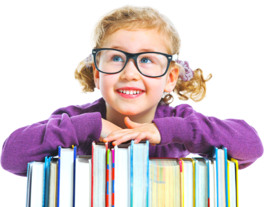 girl leaning on the books smiling